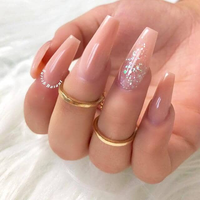 Fancy Pink Nail with Glittering Accents