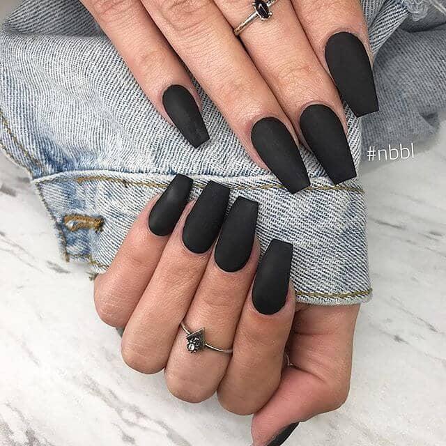Sophisticated Matte Black Ballerina Nails