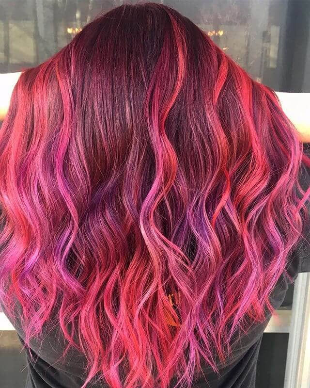 Feisty Fuchsia and Violet Boho Waves
