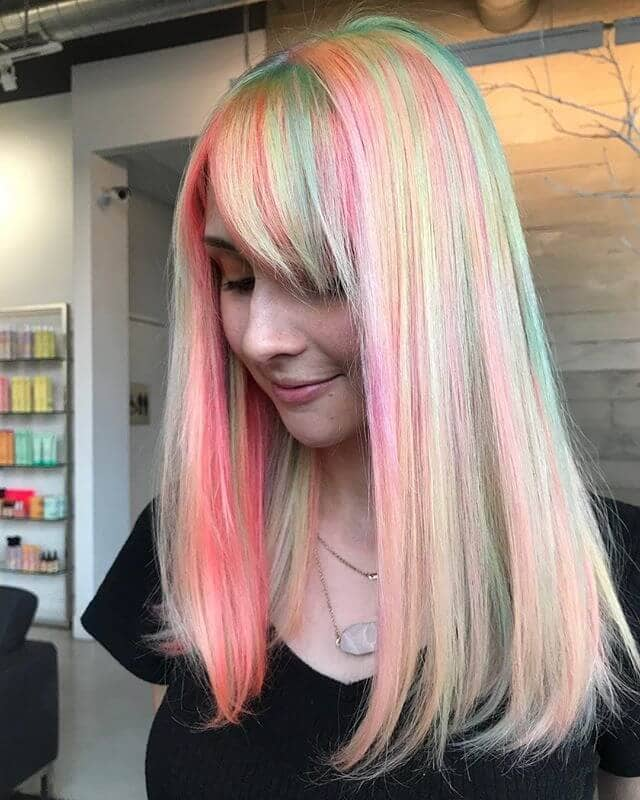 Pastel Soft Bangs and Long Platinum Streaks