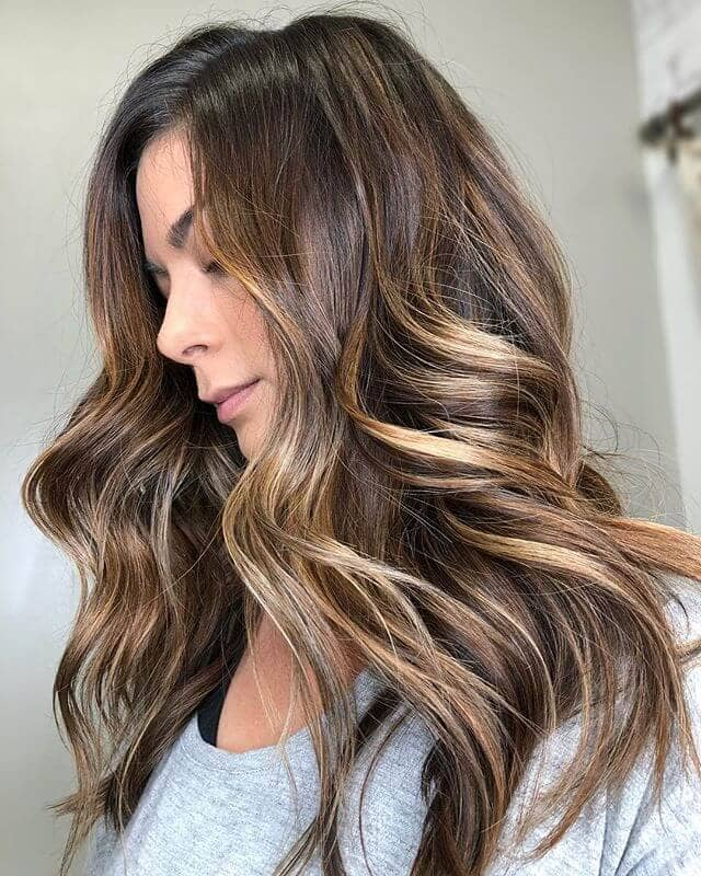 Cool Buttercream Blond Babylights in Medium Brown Hair