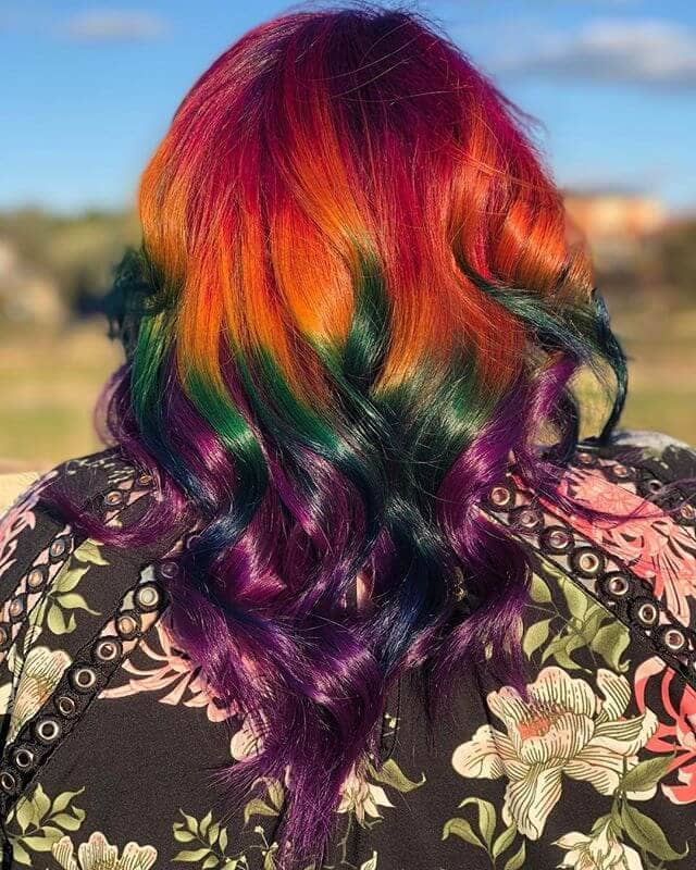 Dark Gem Hues for V-Cut Medium Length Curls