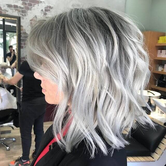 Mature and Silver Long Bob