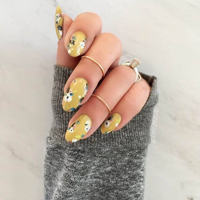 Lovely Yellow Asian Themed Nails with Flowers
