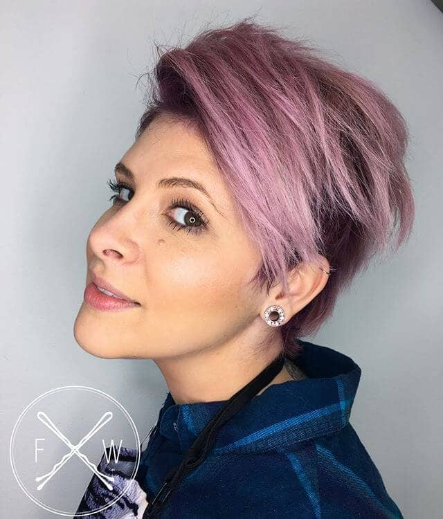 Luscious Lavender-Rose Short Pink Hairstyle