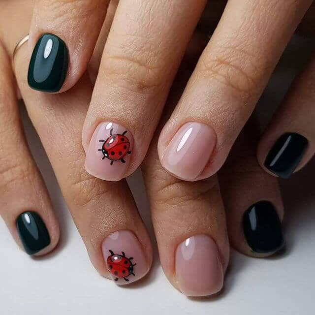 Little Ladybugs Simple Nail Design