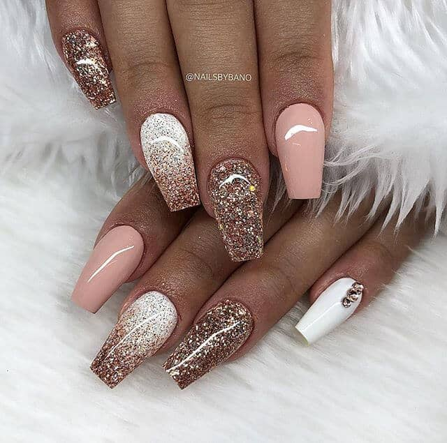 Mocha and Latte with Dusty Rose and Cream Fancy Nails