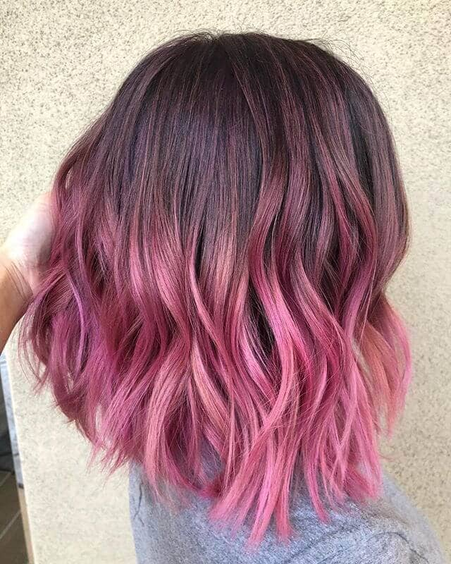 Half and Half Hot Pink Haircut