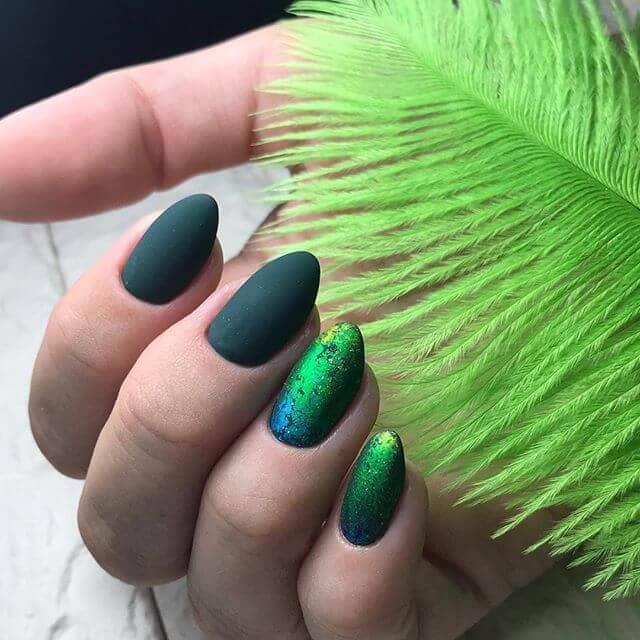 Multi-tonal Peacock Inspired Matte Nails