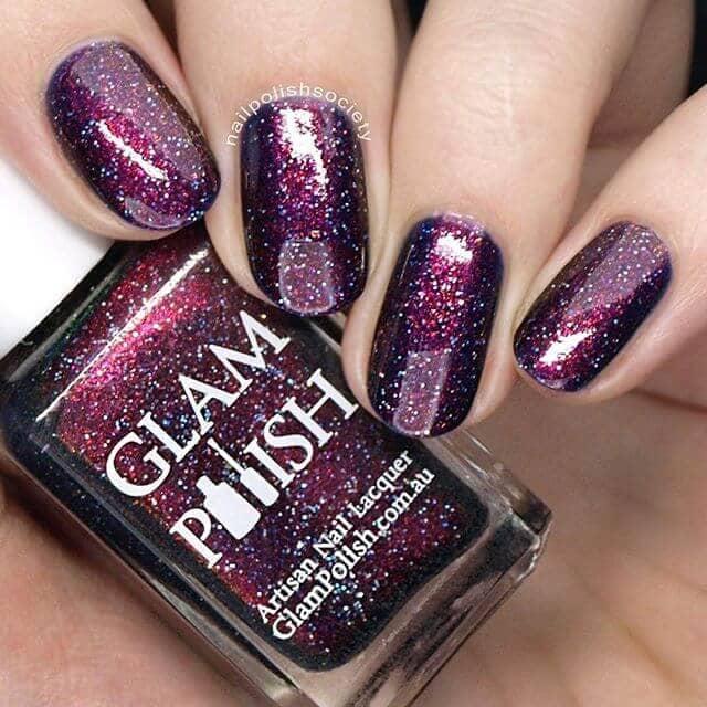 Purplish Burgundy Galaxy Glitter Nails