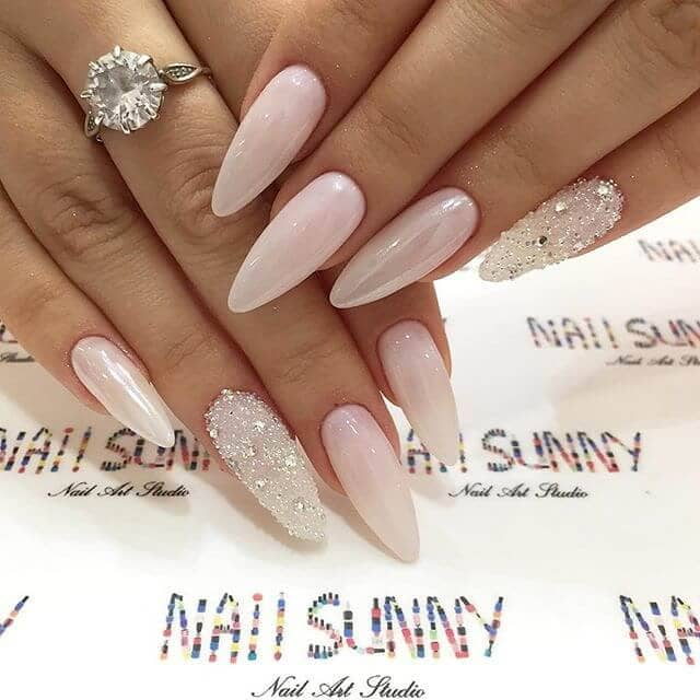 Baby Pink Almond Nails with Silver Diamonds