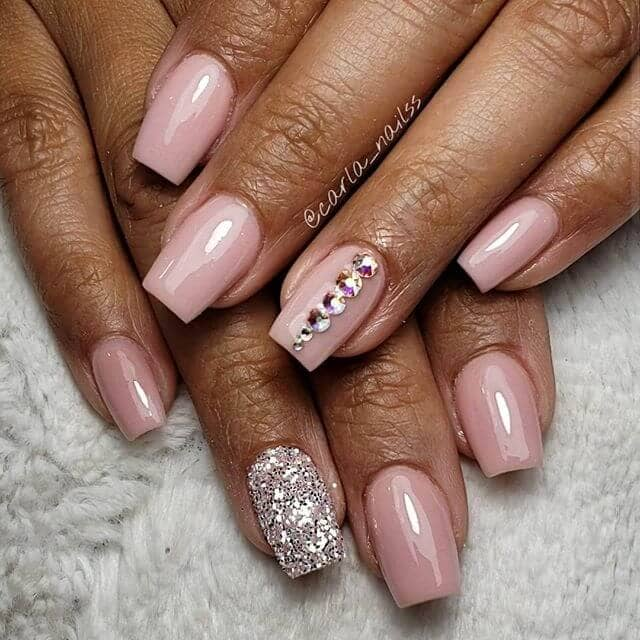 Blush Pink Square Nails with Silver Glitter
