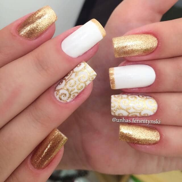 Dashing White and Gold Elegant Manicure