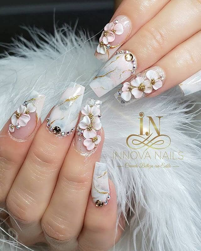 Sparkly Silver Floral Marble Nail Manicure