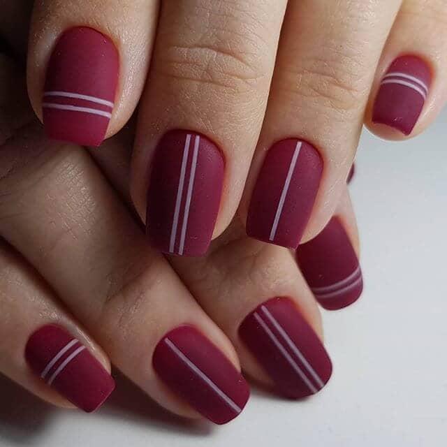 Matte Minimalist Geometric Burgundy Nail Design