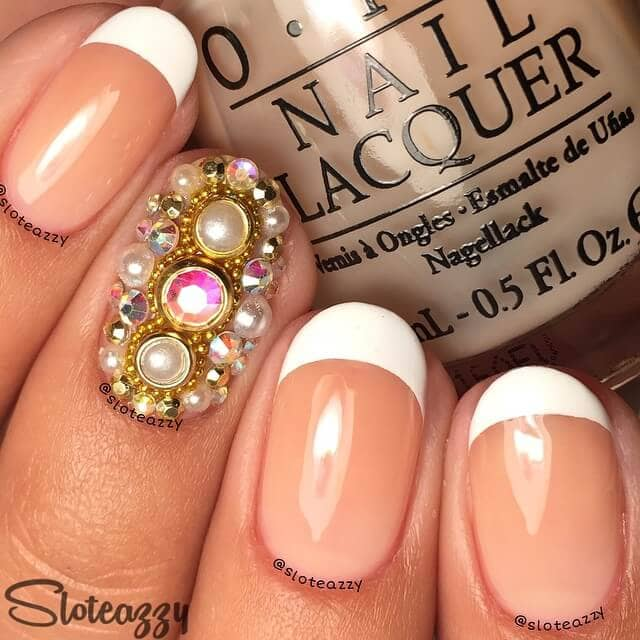 Rounded French Tipped Nails with a Jewels