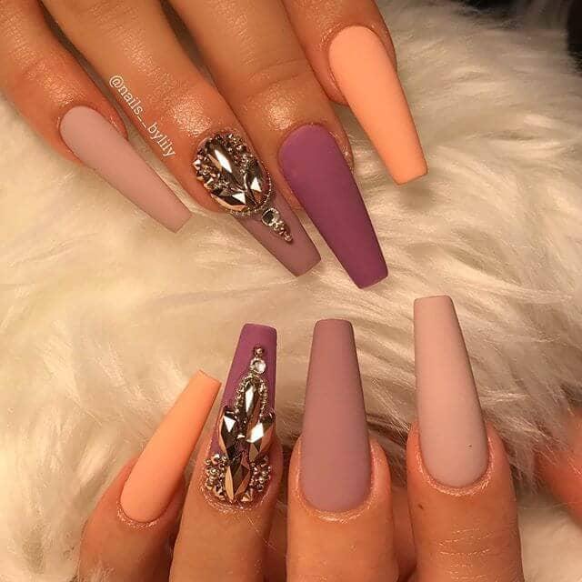 Matte Nude Nails with Purple Diamonds