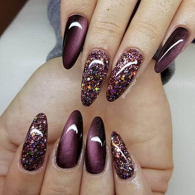 Glam-tastic Burgundy Glitter Nail Design