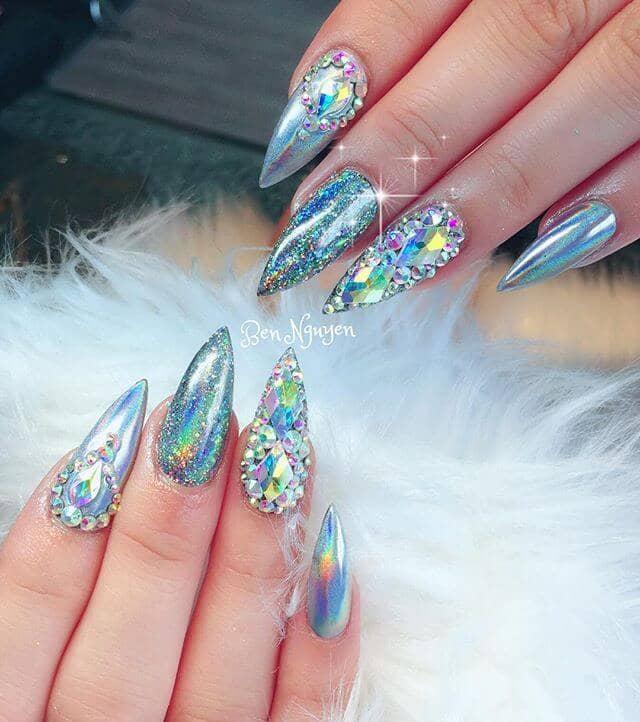 Dazzling Aquamarine Holo Nails with Diamond Studs