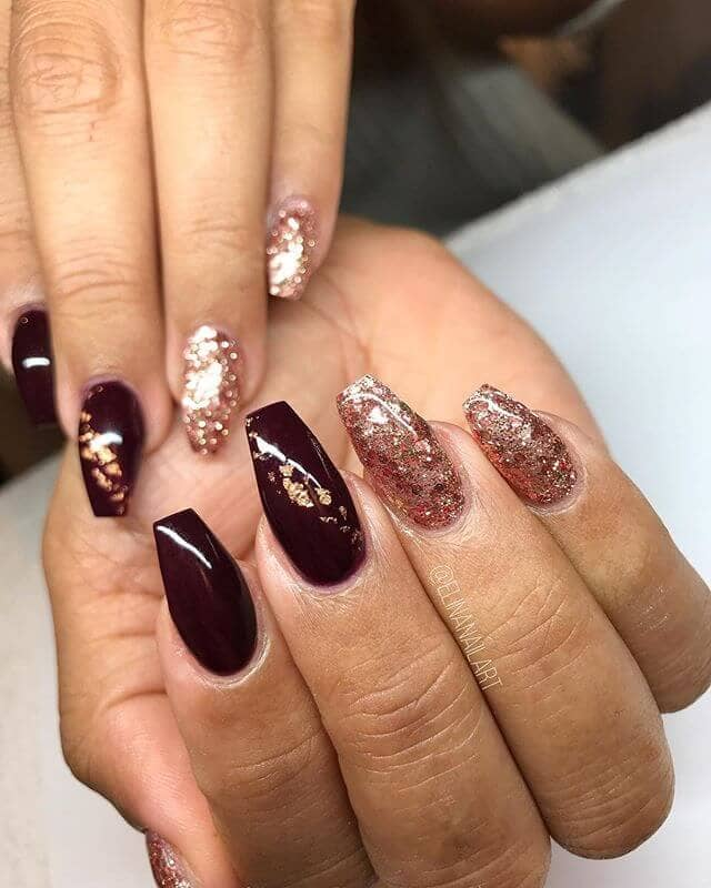 Sumptuous Champagne, Burgundy and Gold Nails
