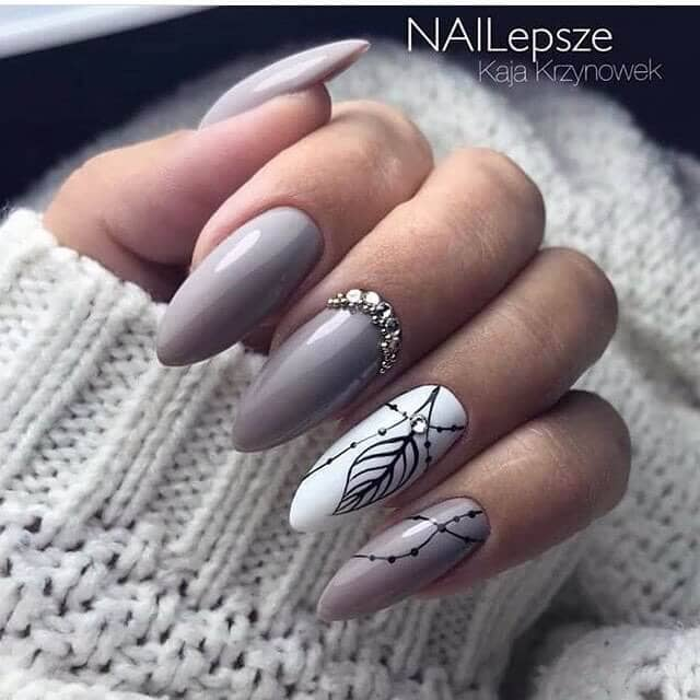 Grey Mountain Peak Nails with Feather Art