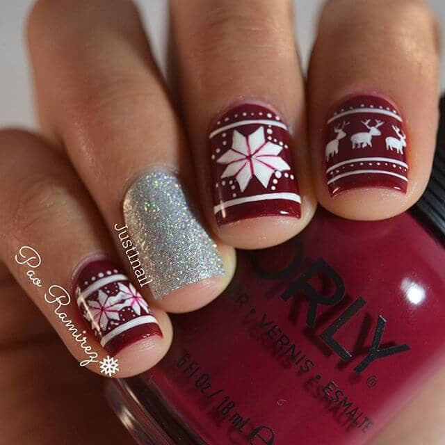 Cute Holiday Sweater Nail Art Style