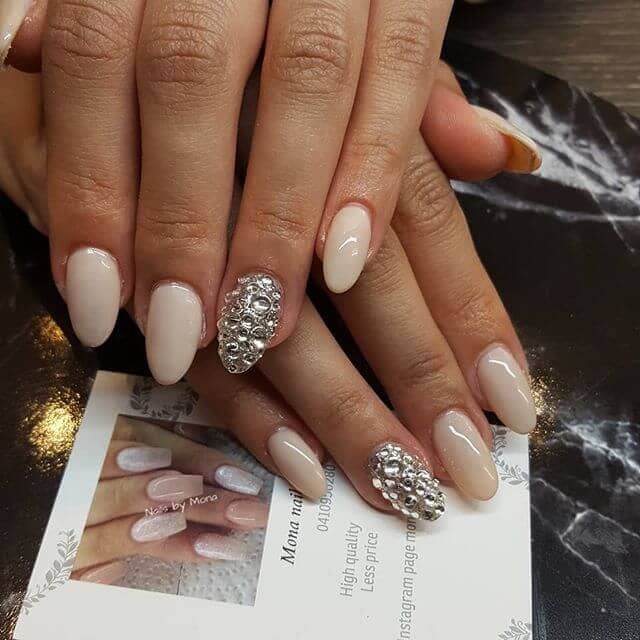 Simple Nude Toned with Silver Diamond Accent