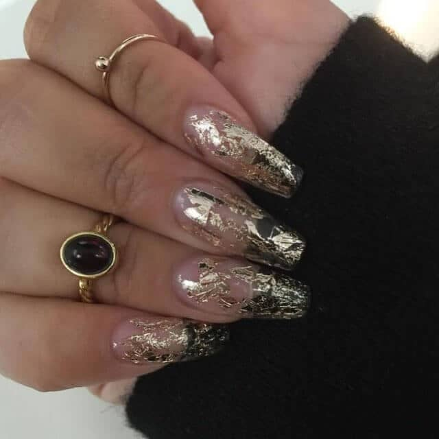 Awesome Transparent Gold Flake Nail Art