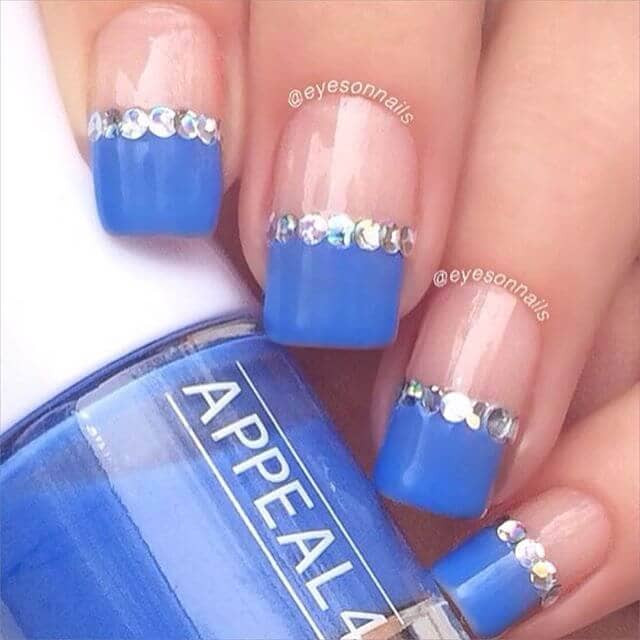 Blue Tipped Square Nails with Diamonds Borders