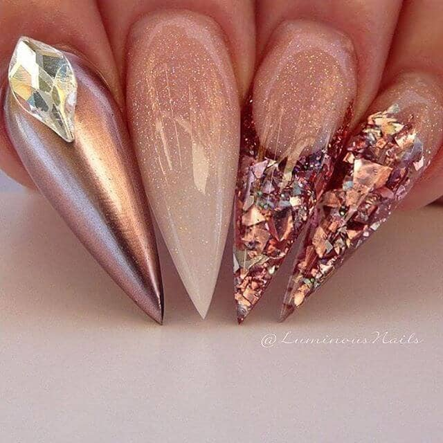 Glittered Ombre and Silver Jewel Encrusted Nails
