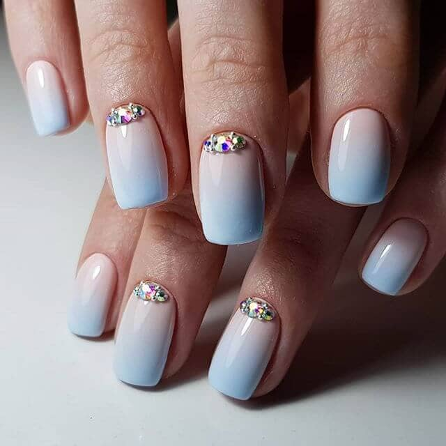 White and Sky Blue Ombre Square Nails