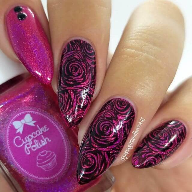 HD Floral Nail Art on Glittery Pink Polish