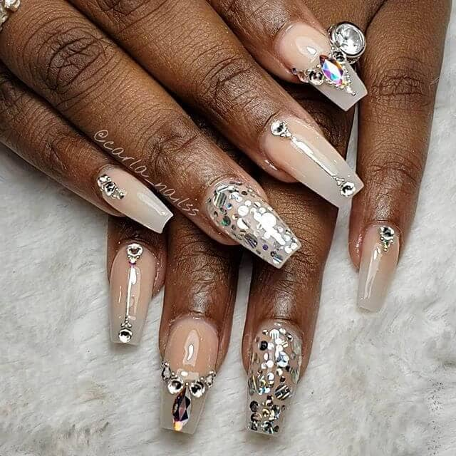 Simple and Natural Nails with Glitter Embellishments