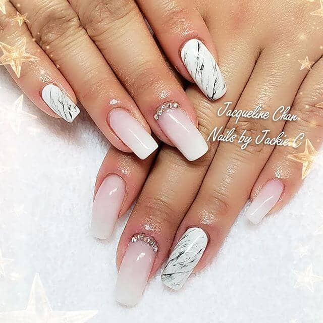 Стильный розовый и белый Ombre Nail Design