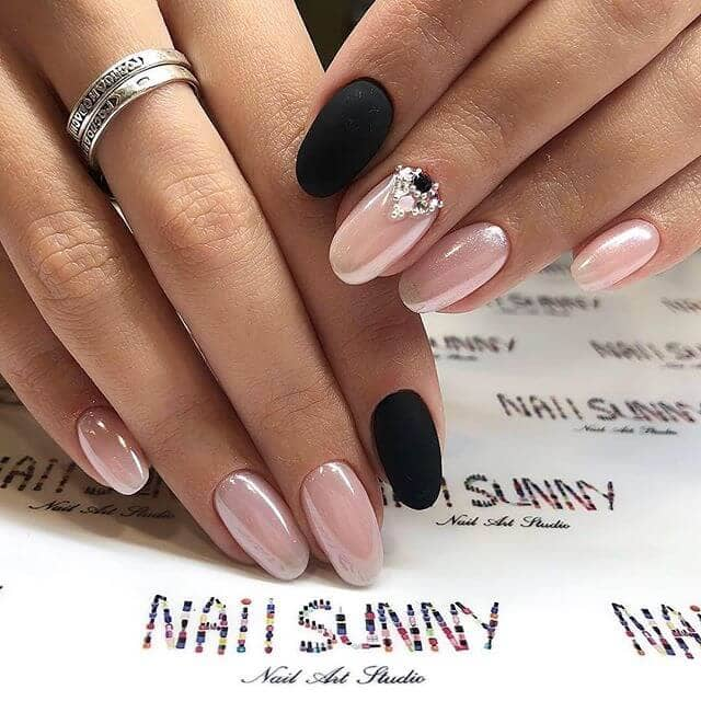 Metallic Pink and Matte Black Rounded Nails