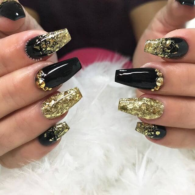 Black and Gold Jewel Studded Nails