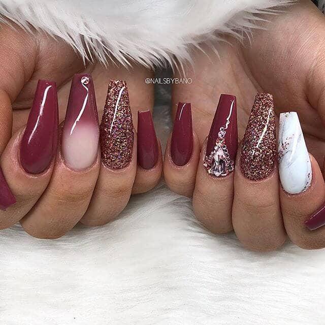 Stylish Burgundy-Hued Winter Wonderland Nails