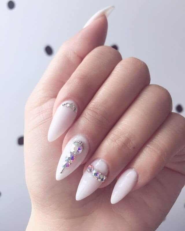 White Almond Nails with Diamonds Embedded