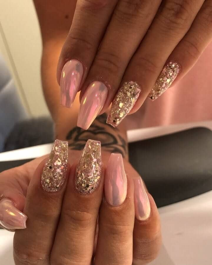 Metallic Pink Ballerina Nails with Sparkly Accents