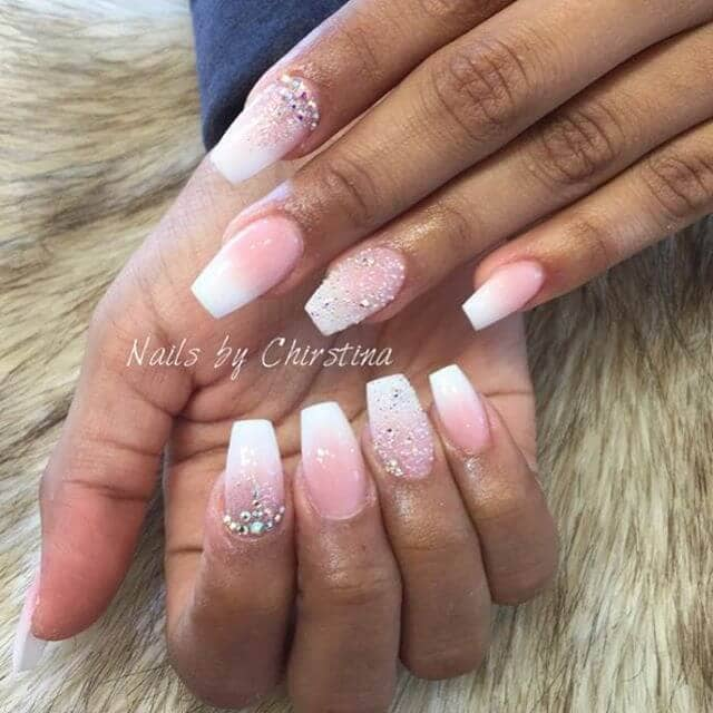 White Tipped Square Nails with Diamonds Encrusted