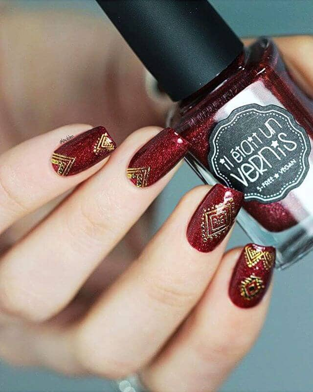 Sparkly Burgundy with Boho Chic Gold Designs