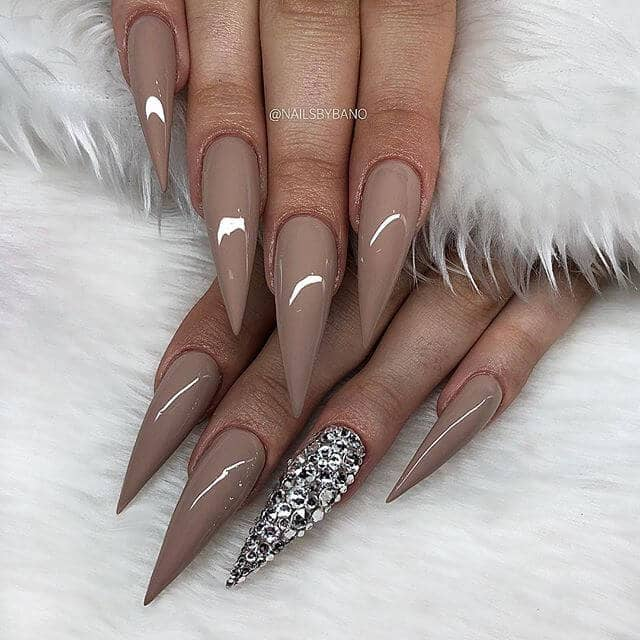 Shiny Nude Toned Mountain Peak Nails