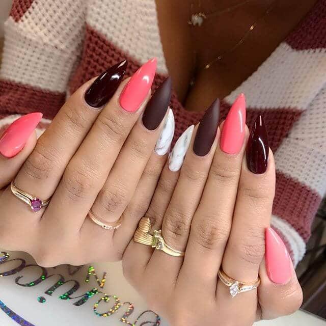 Burgundy and Miami Pink Multicolor Manicure