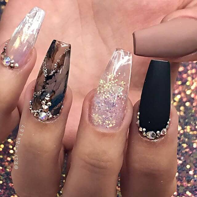 Multicolor Nails with Diamond Encrusted Cuticles