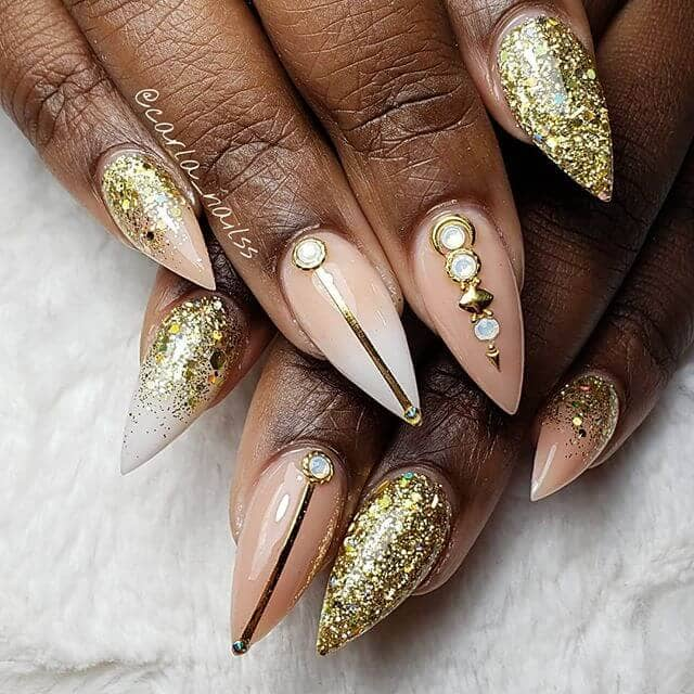 Gold Glitter and Art with Jewel Embellishments