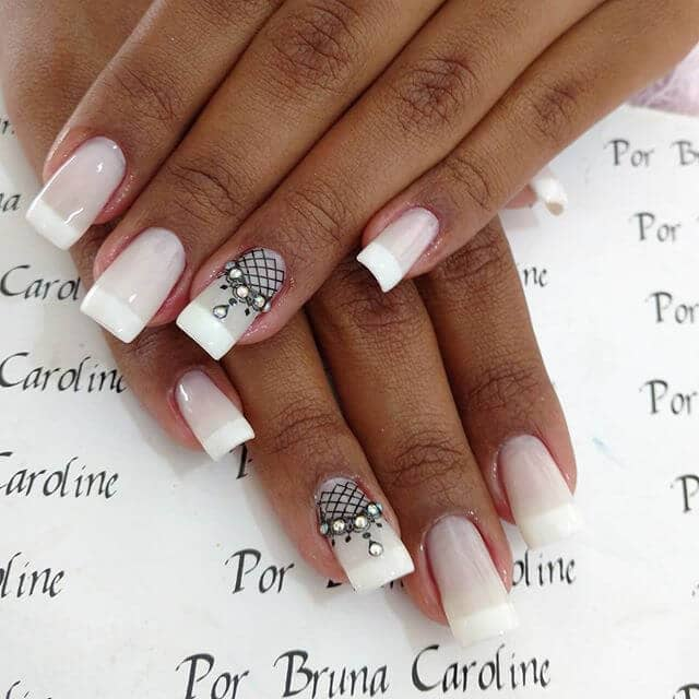 French Tipped Nails with Diamond Nail Art