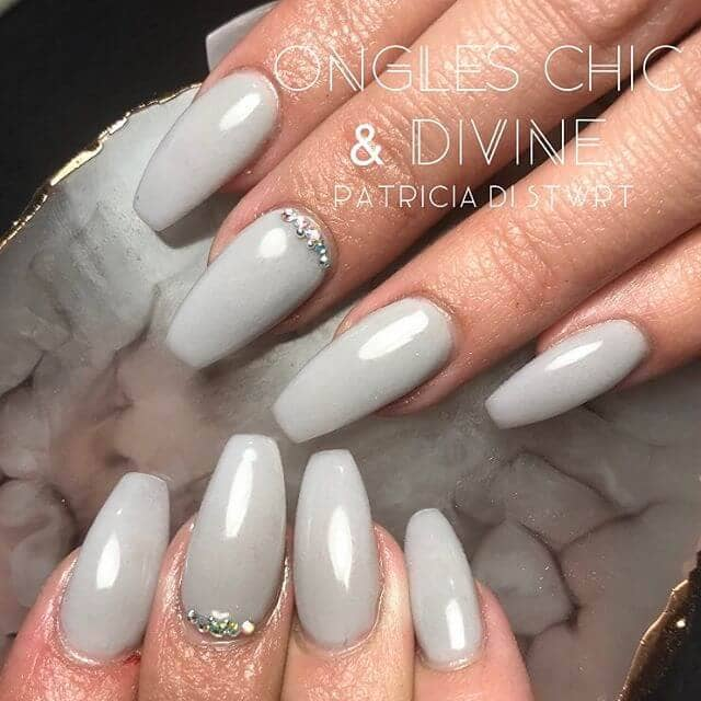 Grey Ballerina Tipped Nails with Diamonds