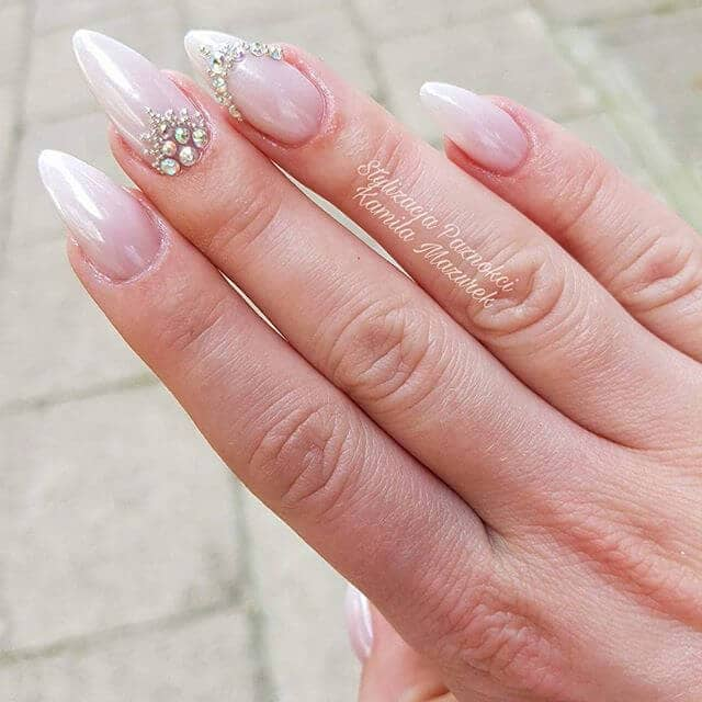 White Ombre Almond Nails with Pearls