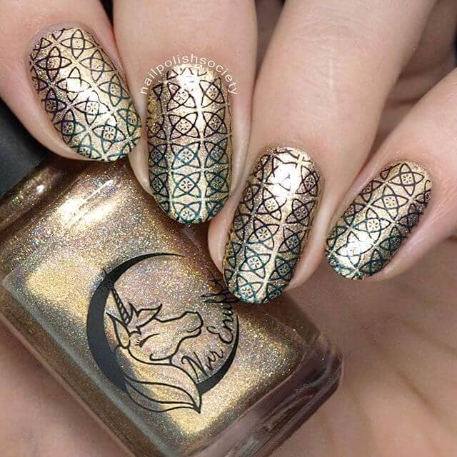 Golden Nail Art Designs with Stamps