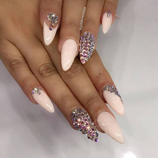 Nude Toned Almond Nails with Multicolor Diamonds